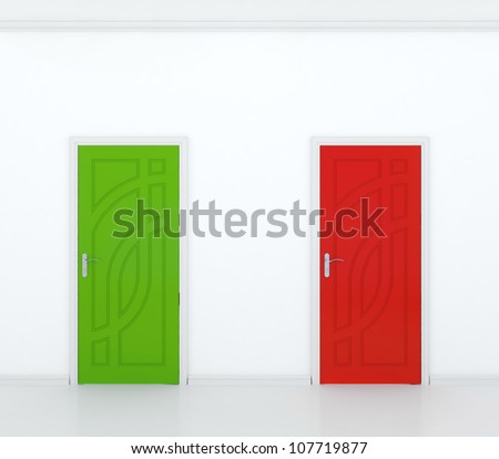3D render of red and green door in white wall - contrast.