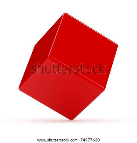 3d render of red balancing box on white background