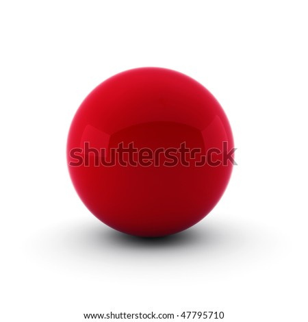 3d render of red ball on white - stock photo
