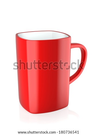 3d render of red coffee mug isolated on white background