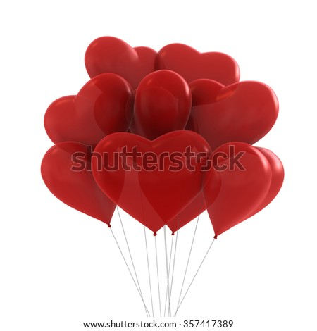 3d render of red colors party balloons heart shaped - stock photo