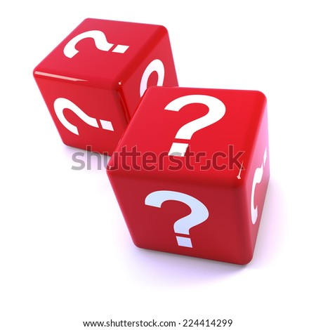 3d render of red dice marked with question marks