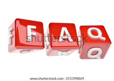 3d render of red dices with word FAQ (frequently asked questions) on white background - stock photo