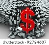 3d render of red dollar sign breaking wall - stock photo