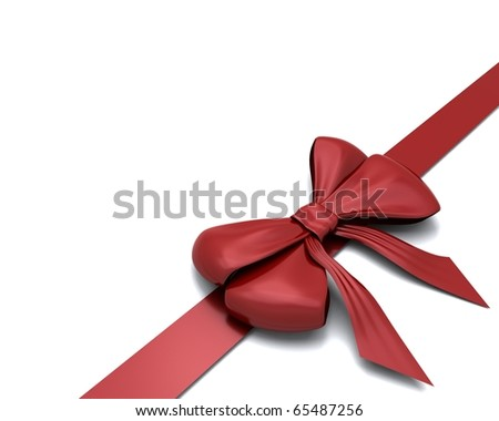 3D render of Red gift bow isolated on white