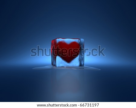 3d render of red heart in ice cube on blue background - stock photo