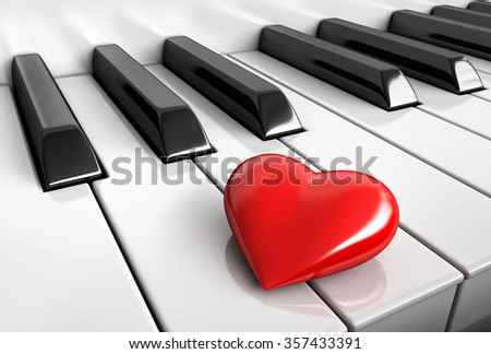 3d render of red heart over piano keys - stock photo