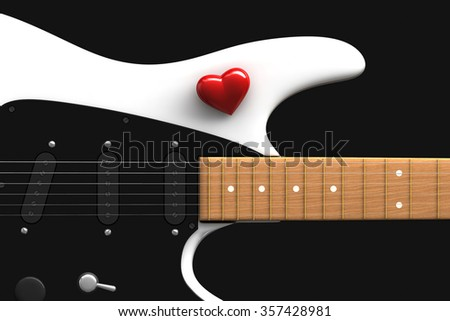 3d render of red heart over white guitar  - stock photo