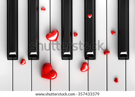 3d render of red hearts over piano keys - stock photo
