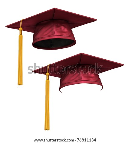3D render of red (mallow) graduation cap with gold tassel isolated on white background