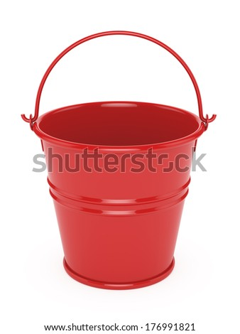 3d render of red metal bucket. isolated on white background - stock photo