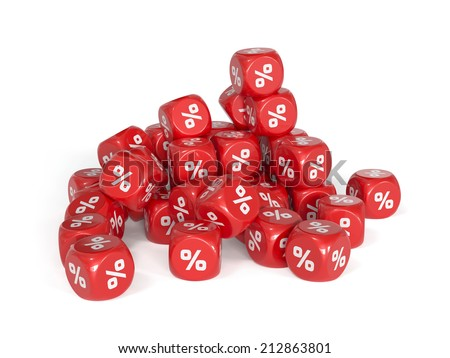 3d render of red percent dices isolater on white background. Marketing concept - stock photo