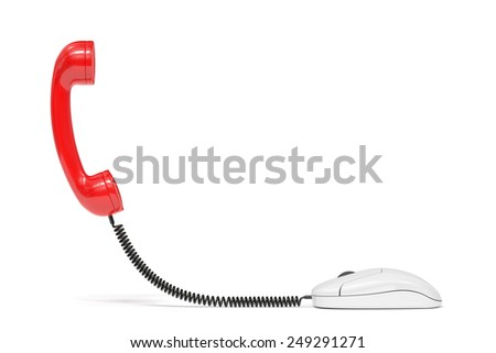 3d render of red phone reciever connected to the computer mouse. Service communication concept - stock photo