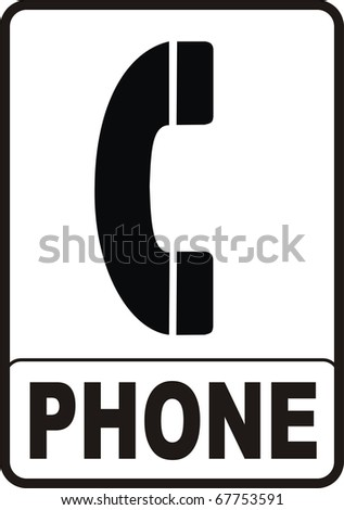 2d render of red Phone sign isolated on white