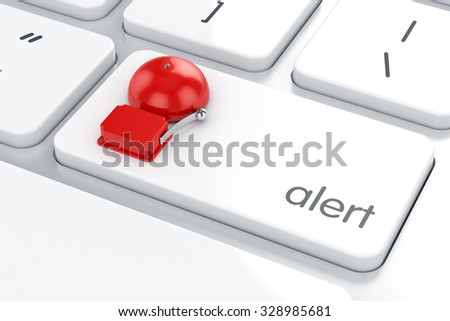 3d render of red retro alarm on the computer keyboard. Danger alert concept - stock photo