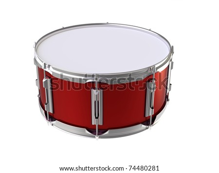 3d render of  red small drum on a white background
