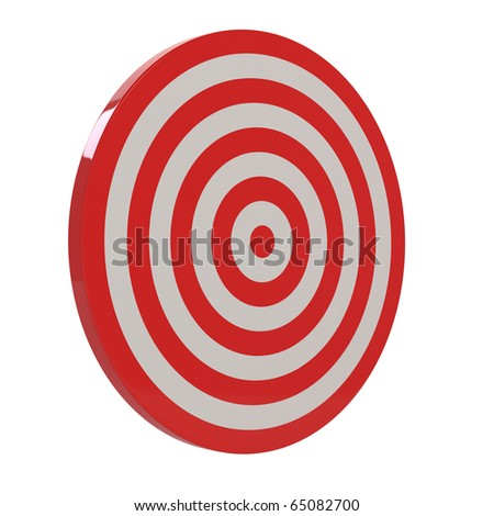 3d render of red target sample on white background - stock photo