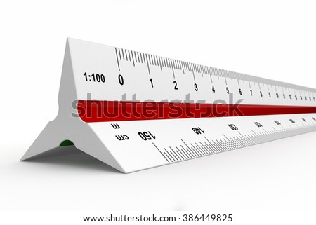 3d render of reduction scale ruler on white background - stock photo