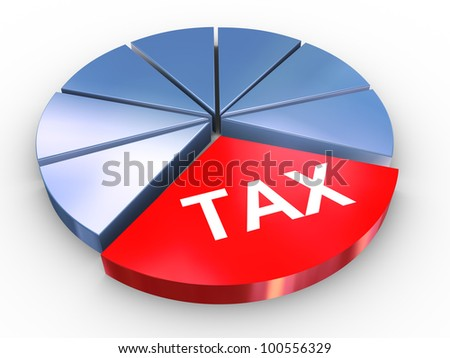 3d render of reflective tax pie chart - stock photo