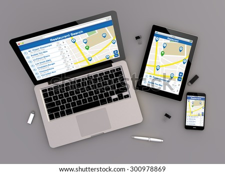 3d render of restaurant search responsive devices with laptop computer, tablet pc and touchscreen smartphone. top view. All screen graphics are made up. - stock photo