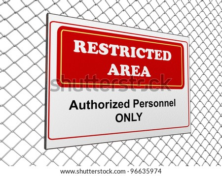 3d render of restricted area notice on fence chain - stock photo