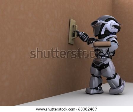 3D render of robot contractor plastering a drywall