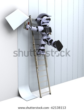 3D render of robot decorating a wall - stock photo