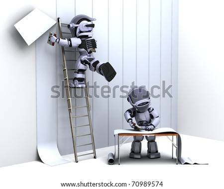 3D render of robot decorating with wallpaper - stock photo