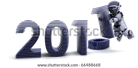 3D render of robot depicting Bringing the new year in - stock photo