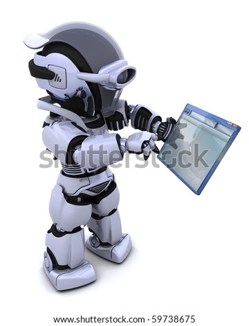 3D render of robot navigating through computer window - stock photo