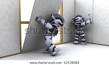 3D render of robot robot contractor building a drywall - stock photo