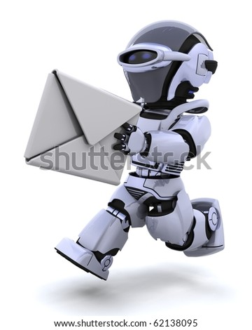 3D render of robot running with an envelope - stock photo