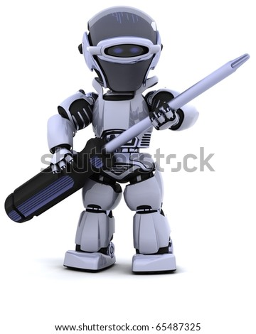 3D render of robot with - stock photo