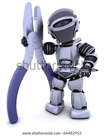 3D render of robot with a pair of pliars
