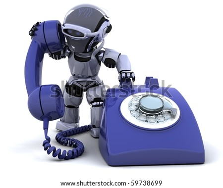 3D render of robot with a traditional telephone - stock photo