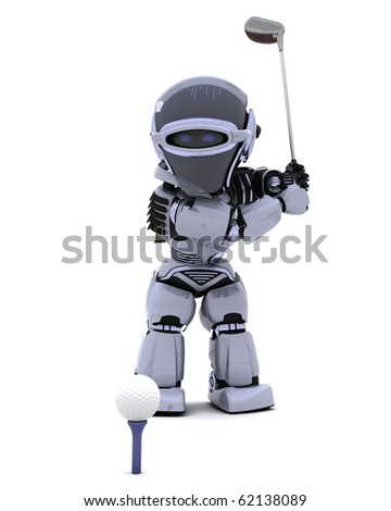 3D render of robot with club playing golf
