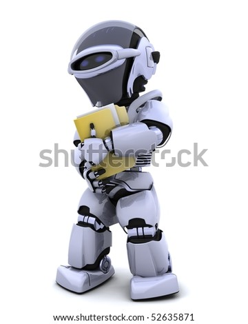 3D render of robot with document and folder