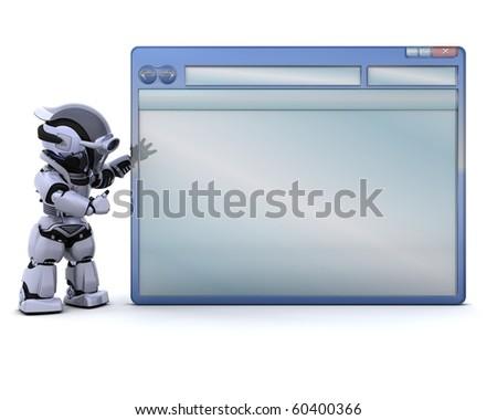 3D render of robot with empty computer window - stock photo