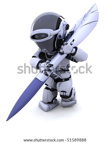 3D render of Robot writing with a pen - stock photo