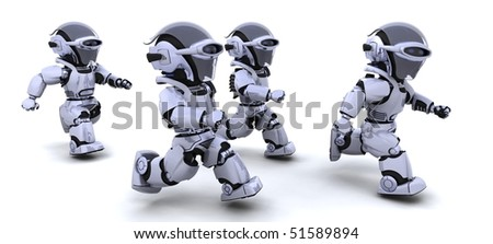 3d Render of robots competing in a race - stock photo