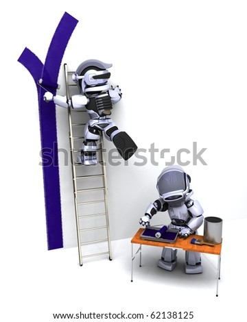 3D render of robots decorating a wall - stock photo