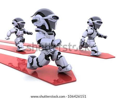 3D render of Robots leading the race - stock photo