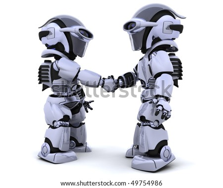 3D render of robots shaking hands - stock photo