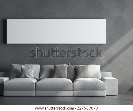3d render of room with frame - stock photo