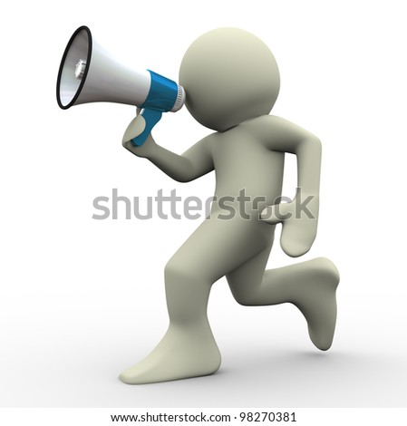 3d render of running man with megaphone. 3d illustration of human character. - stock photo