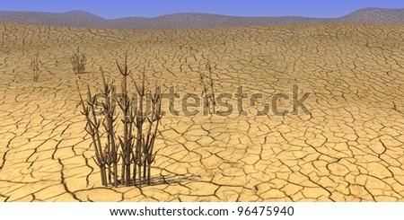 3d render of sand desert - stock photo