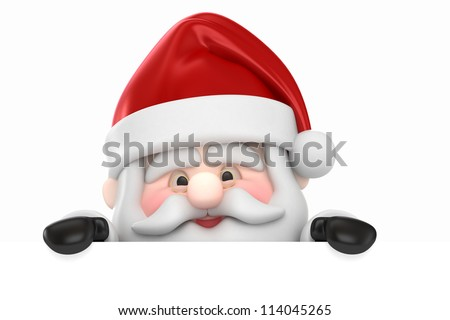 3d render of Santa Claus and  a blank board - stock photo