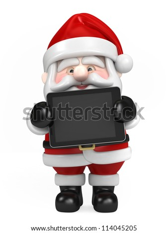 3d render of Santa Claus and holding tablet