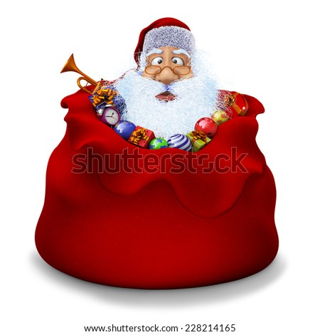 3d render of Santa Claus sits in a sack with gifts - stock photo