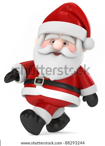 3D Render of Santa Claus walking